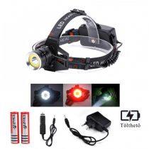 Ledes Cserélhető Akkus Fejlámpa, T6 és COB LED, Fehér és Piros Fénnyel, Csepp és Porálló